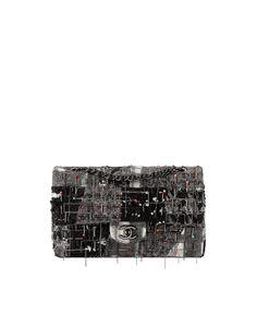 Sac classique, tissu brodé & métal ruthénium-gris, noir & rouge - CHANEL