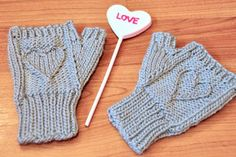"""Ravelry: """"Heart Warmers"""" Heart Cable Knit Legwarmers and Mini Mits in Girls and Adult Sizes pattern by Lauren Riker Knit Mittens, Knitting Socks, Knitting Stitches, Knit Socks, Cable Stitch Knit, Cable Knit, Loom Patterns, Knitting Patterns, Knit In The Round"""