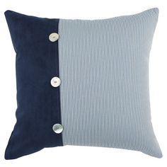 Striped cotton pillow with shell button details <3