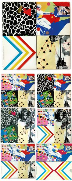 Barney Bubbles  7 x back cover fold variations, Armed Forces (with illustrations by Bazooka).