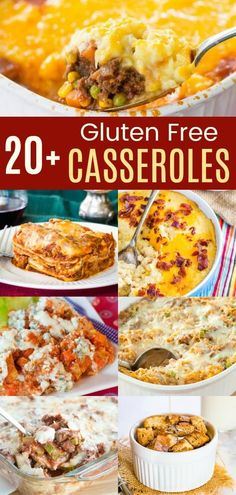 Best Gluten-Free Casserole Recipes - classics and modern twists on the hearty comfort food you crave with casseroles for breakfast, dinner, and even weeknight ad holiday side dishes! Gluten Free Recipes Side Dishes, Wheat Free Recipes, Gluten Free Recipes For Dinner, Healthy Gluten Free Recipes, Foods With Gluten, Gluten Free Cooking, Dinner Recipes, Meal Recipes, Cheese Recipes