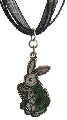 Alice in Wonderland White Rabbit Pendant on a Black Ribbon Choker CLEARANCE SALE $6.99 Created and sold exclusively by Lil Miss Marmalade