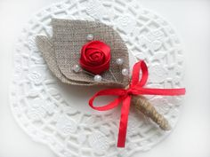 Items similar to Set of RED Flower burlap Boutonniere (buttonhole) -Rustic Wedding-grooms boutonniere on Etsy Boutonnieres, Burlap Boutonniere, Wedding Gift Boxes, Wedding Favor Bags, Pearl Bridal Shower, Lace Garland, Wedding Picture Frames, Rustic Wedding, Chic Wedding