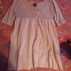 Pink blouse Pink blouse 3/4 sleeves, pockets, upper body 95% tencel lyocell 5% cashmere, lower body 100% cotten, fabric is sheer. Excellent condition. Moda International Tops Blouses