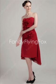fancyflyingfox.com Offers High Quality Vintage Strapless Neckline Burgundy Chiffon High Low Prom Dresses With Ruffles  ,Priced At Only US$145.00 (Free Shipping)