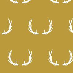 antlers // mustard fabric by littlearrowdesign on Spoonflower - custom fabric