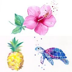Set of 3 Original Hawaiian Nursery Watercolor Paintings - Pineapple - Sea Turtle - Hibiscus Flower - Monstera Leaf - Nursery Art