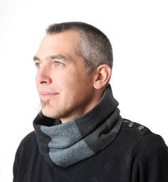 Grey blue cowl scarf Mens accessories Grey and blue