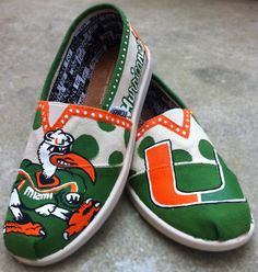 University of Miami Hurricanes Custom Shoes~~ these are so fabulous, I should get a pair!! <3
