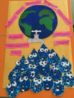 Didem Ögretmenin Etkinlikleri: ENERJİ TASARRUFU SANAT ETKİNLİĞİ Art For Kids, Crafts For Kids, Preschool Art Activities, Earth Day Crafts, Green School, World Water Day, School Decorations, Diy Arts And Crafts, Early Childhood