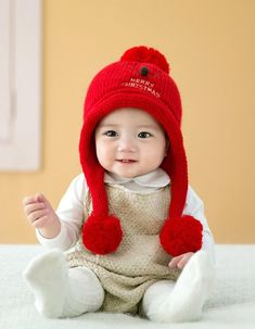 11507f45be3 KaiCran Fashion Baby Beanie Cap For Boys Girls Christmas Cap Cotton Knitted  Ball Warm Hats Red     Want additional info  Click on the image(It is  Amazon ...
