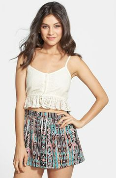 Day 3 Zoo Band of Gypsies Ruffle Hem Crochet Bralette $30 #Nordstrom with Milly Skirt for night and High waist Short for day