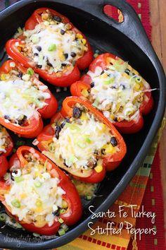 Santa Fe Turkey Stuffed Peppers Ww Recipes, Turkey Recipes, Cooking Recipes, Healthy Recipes, Skinnytaste Recipes, Healthy Snacks, Healthy Cereal, Tuna Recipes, Kitchens