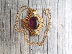 Vintage Art Signed Maltese Cross pendant necklace brooch amethyst rhinestone AC1 #ART #Vintage