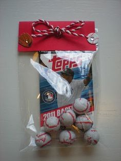 Baseball party favor...could do this for the boys bday party but with football stuff. Great idea!!