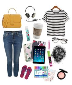 """""""Starbucks Day 279"""" by jillywoodside on Polyvore featuring Batiste, Havaianas, Dex, ban.do, Kate Spade, Frends, Native Union, MAC Cosmetics and Maybelline"""