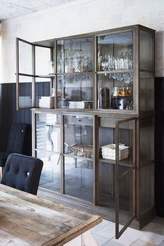 {this is glamorous} : adventures in love, design, fashion, home decor, food and travel: {storage inspiration: time-worn wood & glass} Home Interior, Interior And Exterior, Interior Design, Glass Front Cabinets, Curio Cabinets, China Cabinets, Crockery Cabinet, Cupboards, Muebles Living