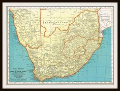Antique SOUTH AFRICA 1935 Map Page by KnickofTime