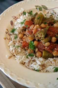 Lebanese Okra and Tomato Stew (chickpeas, too!  Seems to come together fairly easily.)