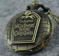 Vintage A Nightmare Before Christmas Steampunk Bronze Quarz Pocket Watch Gifts