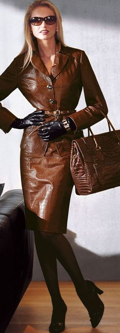When I go blonde I'll wear this gorgeous brown leather suit.  Love the bag and gloves, too.