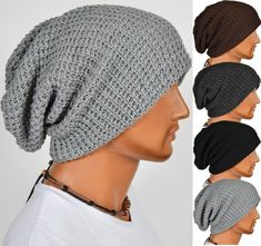 Chic Men Knitting Slouchy Beanie Cap Baggy Winter Hat Oversize Unisex in Clothing, Shoes & Accessories, Men's Accessories, Hats Knitted Hats, Crochet Hats, Mode Style, Hats For Men, Knitting Patterns, Mens Fashion, Fashion Hats, Menswear, Unisex