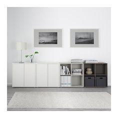 EKET Storage combination with feet - white/light gray/dark gray - IKEA