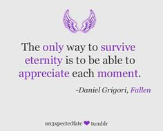 """The only way to survive eternity is to be able to appreciate each moment."" -Daniel Grigori from the Fallen series by Lauren Kate Fallen Novel, Fallen Series, Fallen Book, Fallen Angels, Fallen Saga, Lauren Kate, Percy Jackson, Favorite Book Quotes, Magic Words"