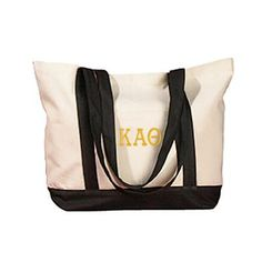The perfect beach bag, fill this embroidered tote with all of your summer essentials, including your favorite greek clothing. Letter colors are customisable, so get them in your favorite or in your sorority's colors. Alpha Phi Sorority, Gamma Sigma Sigma, Theta, Liberty Bag, Boat Bag, Branded Tote Bags, Sorority Outfits, Reusable Shopping Bags, Black Canvas