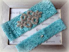Wedding Garter Set  TURQUOISE Lace