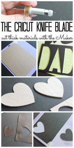 Tips and tricks for using the Cricut knife blade and cutting other thick materials with your Cricut Maker. Includes wood, mat board, chipboard, leather, and so much more! Source by Tips And Tricks, Cricut Blades, Cricut Help, Cricut Air, Cricut Craft Room, Diy Cutting Board, Cricut Tutorials, Do It Yourself Crafts, Maker