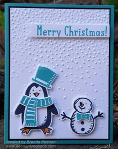 """Using the new """"Snow Place"""" stamp set and matching """"Snow Friends"""" Framelits!  More ideas at http://www.keenankreations.com/2015/08/stampin-holiday-catalog.html"""