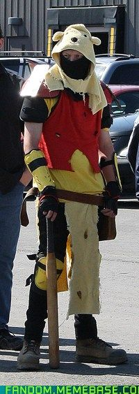 Post-Apocalyptic Winnie the Pooh cosplay...he'll beat ANYONE with that baseball bat if they take his Hunny!