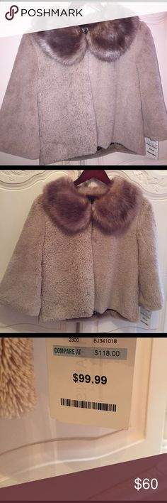 NEW! BETSEY JOHNSON Faux Fur Cape Coat! Gorgeous! Can be dressed up or worn with jeans and boots for a trendy look!  Has a beautiful jeweled brooch closure at the top, and a second hook closure towards the middle of you want to let the fur collar hang open!  Paid $100 NO LOW BALLS PLEASE! Betsey Johnson Tops
