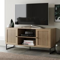 Nathan James Mina Oak-Finish Particleboard Black Accent, Storage Doors Entertainment Cabinet Media Stand (For TVs up to 55 in.) 74101 - The Home Depot Oak Corner Tv Stand, Sliding Cabinet Doors, Inside Cabinets, Modern Tv, Furniture Companies, Adjustable Shelving, Open Shelving, Entertainment Center, Entertainment Products