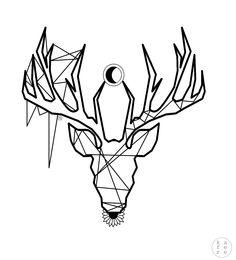 Minimalistic tattoo design / deer god