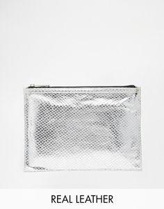ASOS Leather Zip Top Clutch Bag