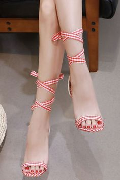 Women's Red Gingham Ankle S Sexy Legs And Heels, Hot High Heels, Lace Up Heels, High Heels Stilettos, Stiletto Heels, Black Heels, Shoes Heels, Best Golf Shoes, Talons Sexy