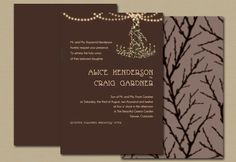 Wedding Invitation - Rustic Chandelier in Brown Brit-Maybe with grape vines or a weird heart