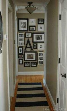 New hallway rug and gallery wall. New hallway rug and gallery wall. I hope you all had a fabulous weekend! I got to spend some quality. Hallway Rug, Upstairs Hallway, Hallway Ideas, Wall Ideas, Hallway Pictures, Wall Photos, Long Hallway, Hanging Pictures On The Wall, Foyer