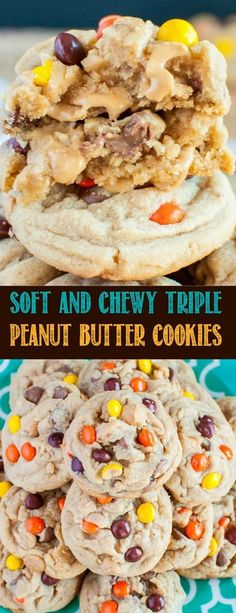 These Thick, Soft and Chewy Triple Peanut Butter Cookies are a peanut butter lover's dream come true! An easy recipe for one of the best cookies ever!
