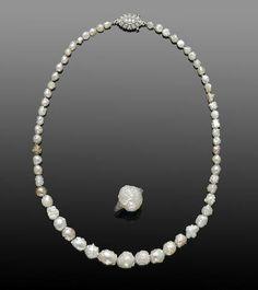 "American Natural Pearl ""Rosebud"" Necklace and Matching Natural Pearl Ring"