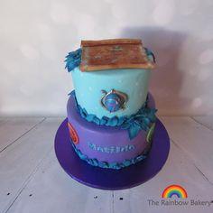 "rainbowbakerynl: "" #lego #elves #cake #medallion #purple #turquoise…"