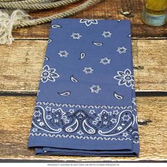 Western Bandana Country Kitchen Towel Blue   Tea Towels   RetroPlanet.com  Perfect for a backyard party!