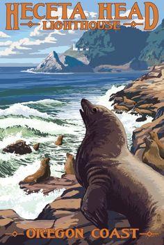 Heceta Head Lighthouse, Oregon - Sea Lions - Lantern Press Artwork (16x24 Gallery Quality Metal Art), Multi