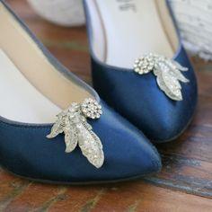 001eac1963 VINTAGE rhinestone shoe clips. art deco noveau flourish. pot metal. RARE.  1920. 1940