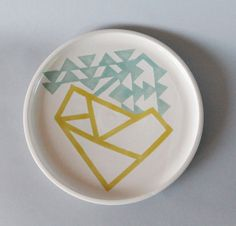 Triangle Geometric Plate in Turquoise and Yellow by dahlhaus