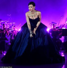 Shining bright: Rihanna entertained guests with a stage performance at her inaugural Diamo...