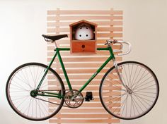 Bike Rack Birdhouse  Wall mounted WOOD indoor bike rack. by DIMINI, $100.00