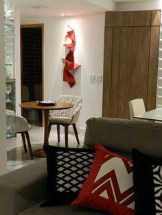 Apartamento 120m2 Recife- Home Decor- Colors Decor- Decoração com Cores-Decoração- Arquitetura Residencial- Design de Interiores- Sala de Estar e Jantar- Esculturas- Composição de Objetos- Iluminação Pontual